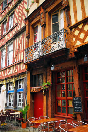 tudor: Old medieval half-timbered houses in Rennes, France Stock Photo