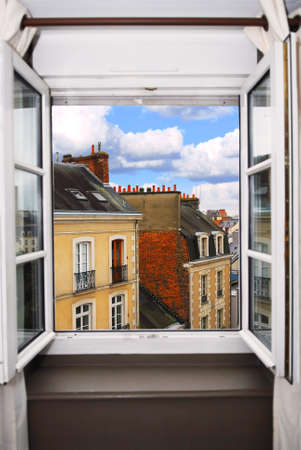 window view: View from the open window in Rennes, France.