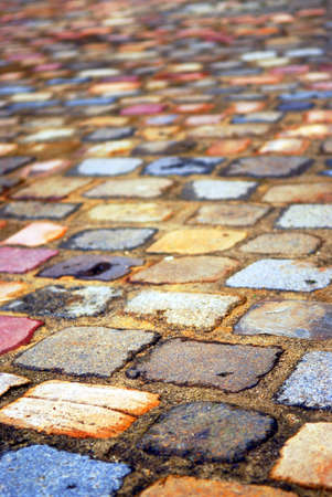 Background of colorful cobblestone pavement close up Stock Photo - 1620928