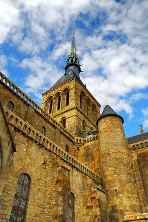 mont saint michel: Fragment of Mont Saint Michel abbey in France