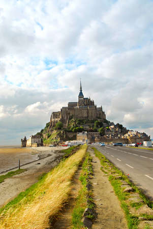 michel: Road leading to Mont Saint Michel abbey in France Stock Photo