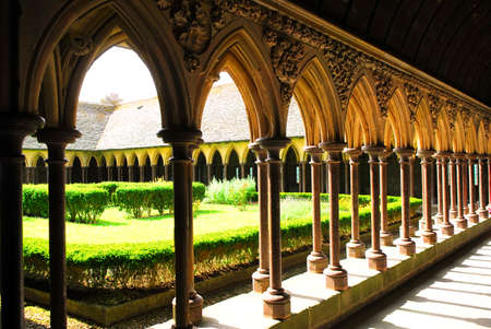 Fragment of a cloister in Mont Saint Michel abbey in France photo