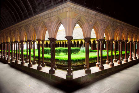 Cloister garden in Mont Saint Michel abbey in France photo