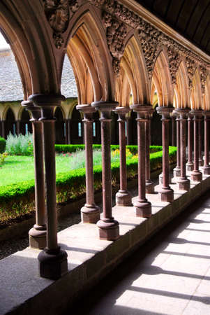 michel: Cloister in Mont Saint Michel abbey in France Stock Photo