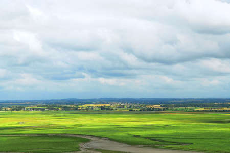 Summer landscape in Brittany, view from Mont Saint Michel, France photo