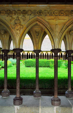 michel: Cloister garden in Mont Saint Michel abbey in France
