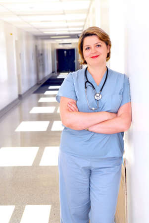 Portrait of a female doctor or nurse in a hospital corridor photo