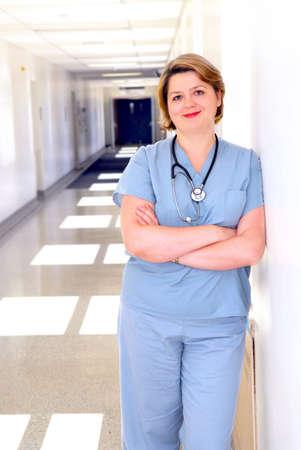 Portrait of a female doctor or nurse in a hospital corridor Stock Photo - 1685518