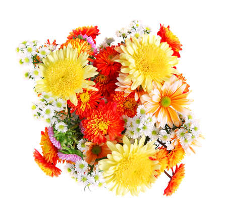 Bouquet of flowers, top view, isolated on white background photo