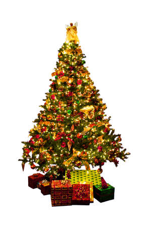 Decorated Christmas tree with presents isolated on white background photo