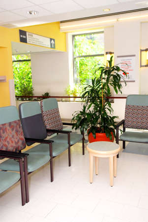 Waiting room in a hospital or clinic with empty chairs