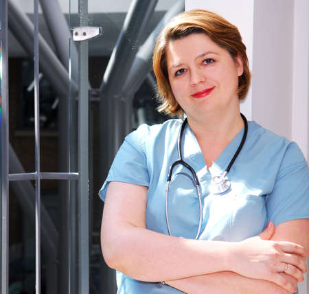 Portrait of a medical doctor or nurse in a hospital photo