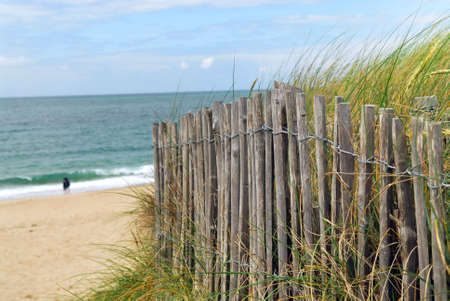 Ocean with sandy beach and wooden fence photo
