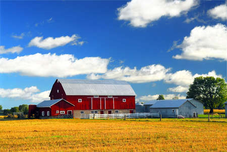 Rural lanscape with red barn in rural Ontario, Canada. Stock Photo