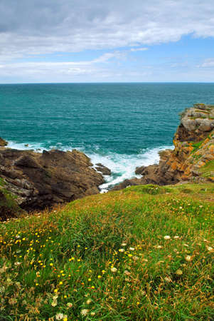 Landscape of rocky Atlantic coast in Brittany, France photo