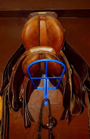 girth: Two saddles on a rack in a tack room, horseback riding equipment