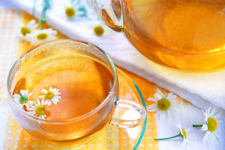 chamomile flower: Teacup and teapot with herbal soothing camomile tea