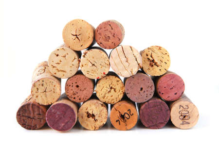 A pile of various wine corks on white background 版權商用圖片