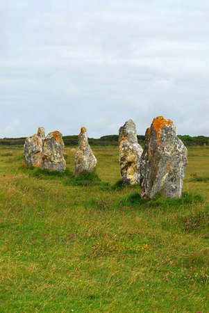 alignments: Prehistoric megalithic monuments menhirs in Brittany, France Stock Photo