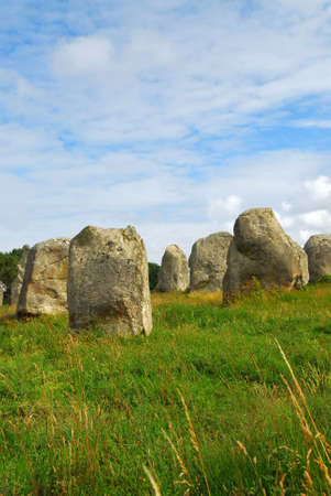 alignments: Prehistoric megalithic monuments menhirs in Carnac area in Brittany, France