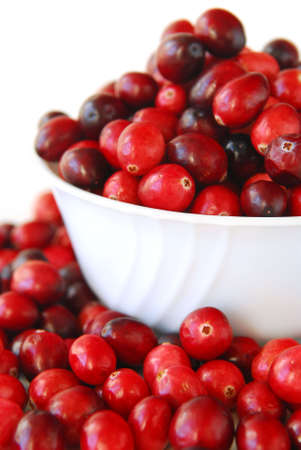 Fresh red cranberries in a bowl on white background Stock Photo - 2214014