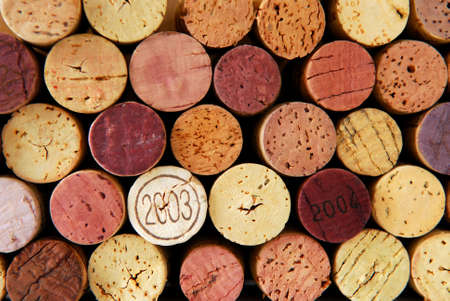 Background of assorted wine corks close up