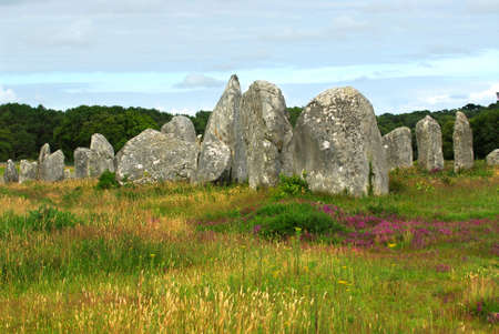 megalith: Prehistoric megalithic monuments menhirs in Carnac area in Brittany, France
