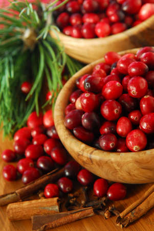 Fresh red cranberries in wooden bowls with spices and pine branches Stock Photo - 2214173