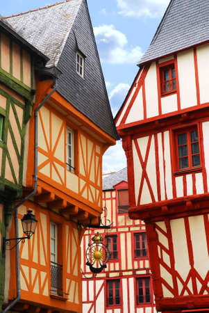 half timbered house: Colorful medieval houses in Vannes, Brittany, France