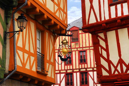 Colorful medieval houses in Vannes, Brittany, France photo