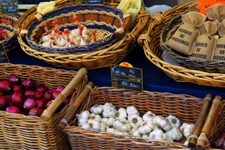 Fresh vegetables for sale on french farmers market in Perigueux, France photo