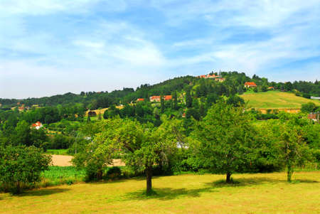 french countryside: Scenic view on rural landscape in Perigord, France. Stock Photo