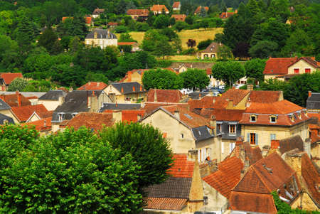 Red rooftops of medieval houses in Sarlat, Dordogne region, France. photo