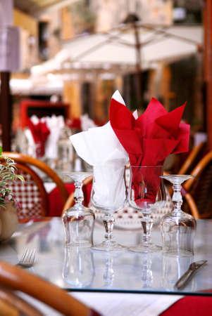 outdoor restaurant: Outdoor restaurant patio on the street of Sarlat, Dordogne region, France