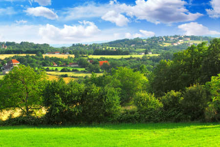 Scenic view on summer agricultural landscape in rural France Stock Photo - 2409388