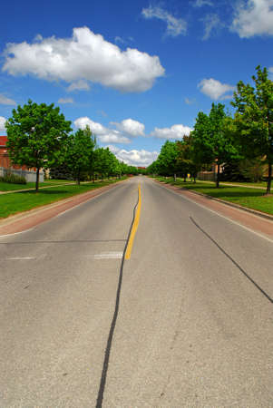 Empty residential street in suburban neighborhood lined with trees Stock Photo - 2447820