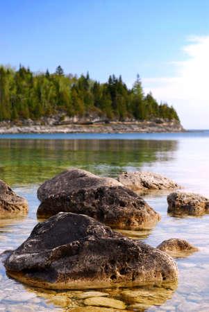 great bay: Rocks in clear water of Georgian Bay at Bruce peninsula Ontario Canada