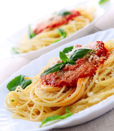 Pasta with tomato sauce basil and grated parmesan Banco de Imagens