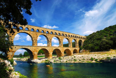 Pont du Gard is a part of Roman aqueduct in southern France near Nimes. 版權商用圖片