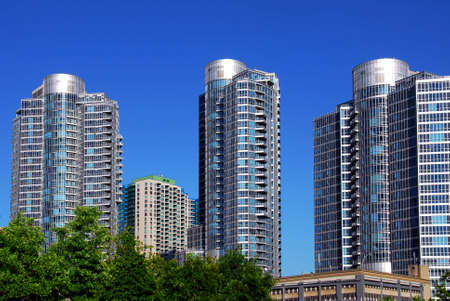Highrise buildings of a modern condominium complex