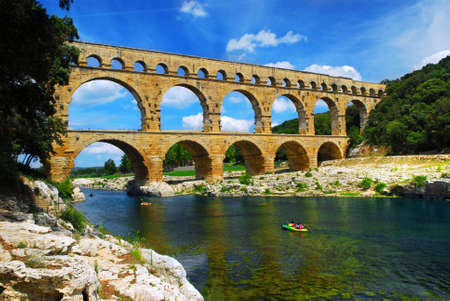 Pont du Gard is a part of Roman aqueduct in southern France near Nimes. Stock Photo