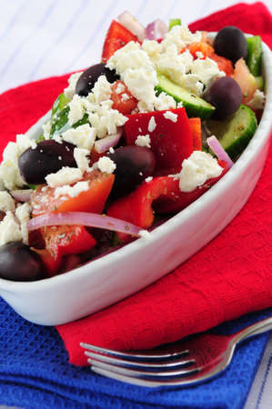 kalamata: Greek salad with feta cheese and black kalamata olives Stock Photo