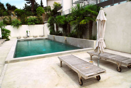 terrace: Swimming pool of mediterranean villa in French Riviera