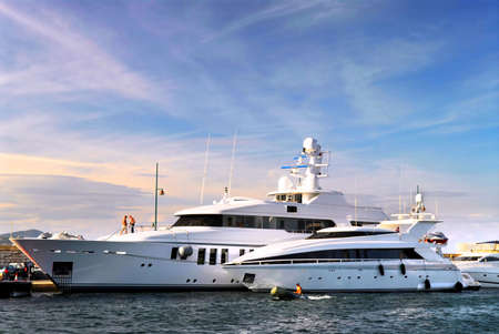 french riviera: Large luxury yachts anchored at St. Tropez in French Riviera