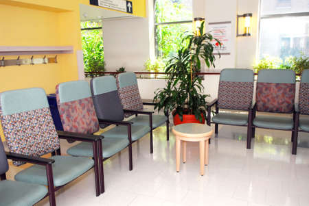 reception room: Hospital or clinic waiting room with empty chairs