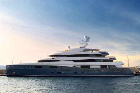 Large luxury yacht anchored at St. Tropez in French Riviera photo