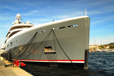 tropez: Large luxury yacht anchored at St. Tropez in French Riviera Stock Photo