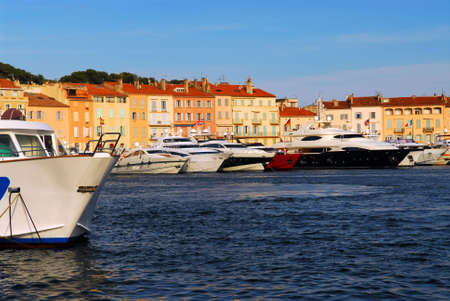 tropez: Luxury boats anchored in St. Tropez in French Riviera
