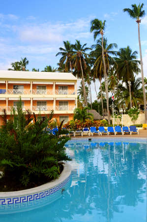 accommodation: Swimming pool and accommodation at tropical resort Editorial