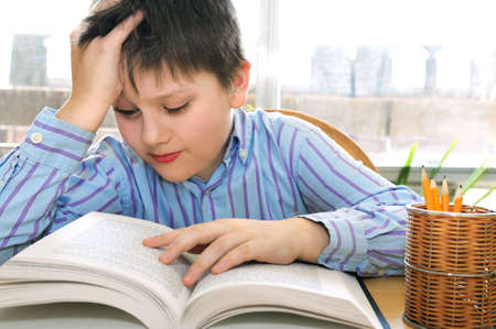 Serious school boy studying with a book Stock Photo - 3010117